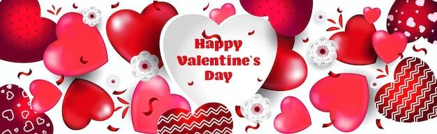 Celebración del día de san valentín amor banner flyer o tarjeta de felicitación con corazones horizontales