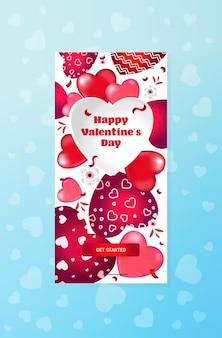 Celebración del día de san valentín amor banner flyer o tarjeta de felicitación con corazones verticales