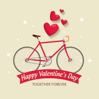 Celebración del día de san valentín con bicicleta