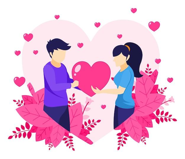Celebración del día de san valentín, un hombre está expresando amor dándole un símbolo de corazón a una mujer, hombre y mujer en la ilustración de relaciones