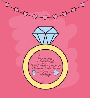 Celebración del día de san valentín con propuesta de anillo