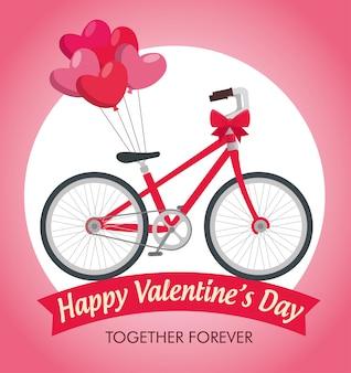 Celebración del día de san valentín con transporte en bicicleta