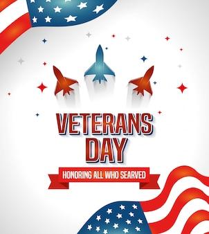 Celebración del día de los veteranos con aviones y bandera