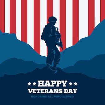 Celebración del día de los veteranos en diseño plano
