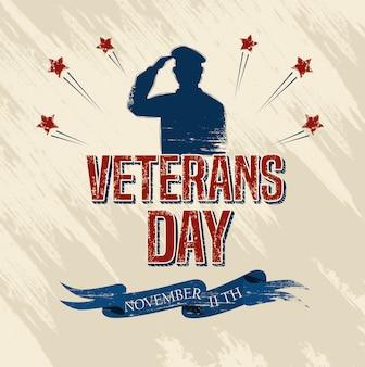 Celebración del día de los veteranos con militares y estrellas