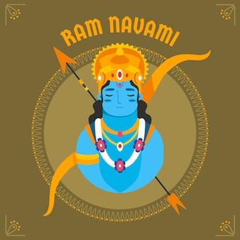 Celebración de diseño plano ram navami
