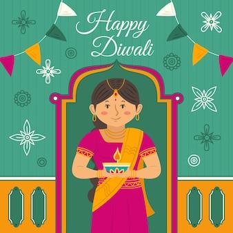 Celebración de diwali estilo dibujado a mano