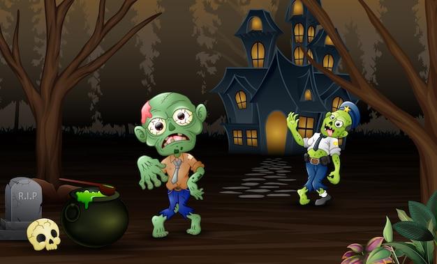 Celebración de dos zombies al aire libre con fondo de casa embrujada