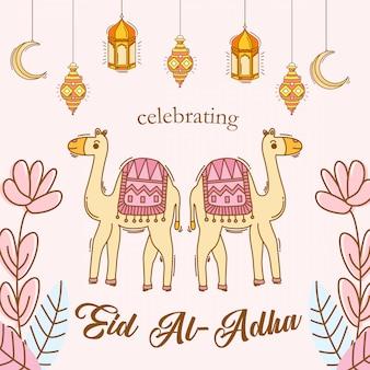 Celebración de eid al adha con estilo dibujado a mano