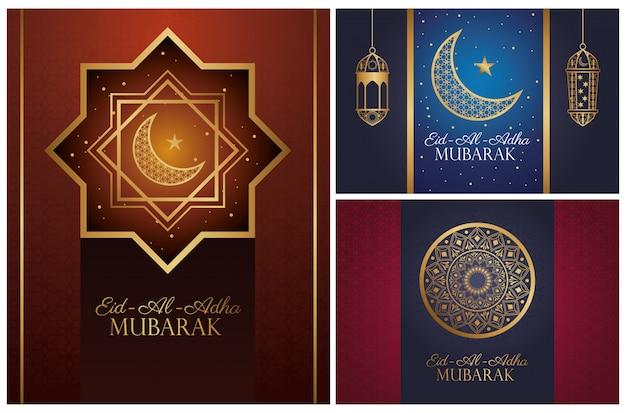 Celebración de eid al adha mubarak con iconos dorados
