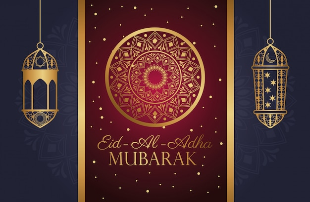 Celebración de eid al adha mubarak con mandala dorado y linternas
