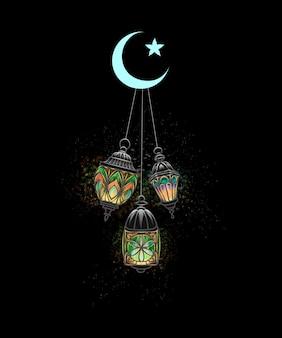 Celebración de eid mubarak. islam, linterna fanus. la fiesta musulmana del mes sagrado de ramadán kareem. lámpara árabe iluminada. ilustración