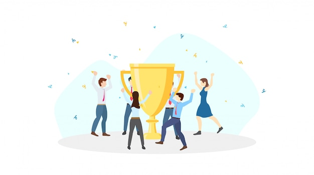 Celebración del equipo empresarial alrededor del gran trofeo de oro para el éxito en el diseño de iconos planos sobre fondo blanco.