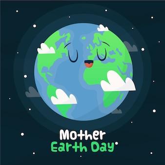 Celebración del evento del día de la madre tierra dibujada a mano