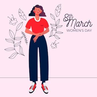 Celebración de eventos de día para mujer de diseño plano