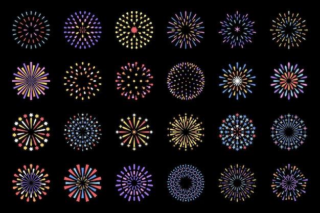 Celebración exhibición de fuegos artificiales muestran conjunto decorativo aislado