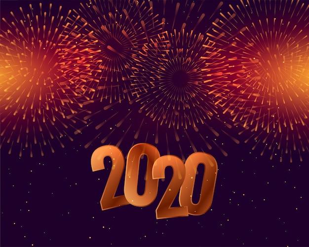 Celebración de feliz año nuevo 2020 con fuegos artificiales