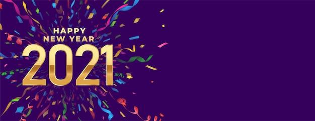 Celebración feliz año nuevo banner con confeti