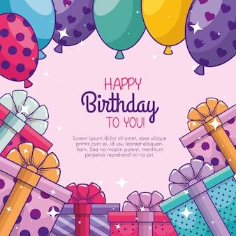 Celebración del feliz cumpleaños con globos y regalos