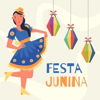 Celebración de festa junina plana