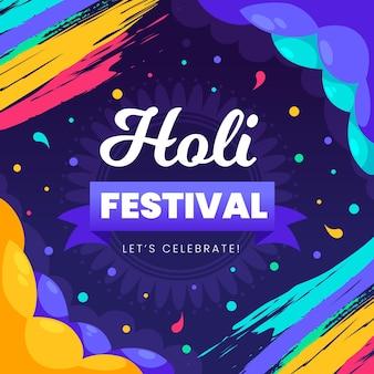 Celebración del festival holi colorido dibujado a mano