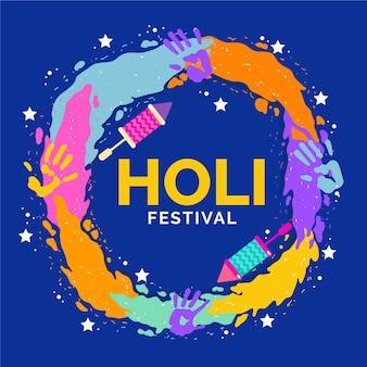 Celebración del festival holi colorido plano