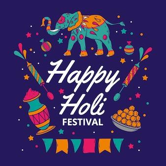 Celebración del festival holi dibujado a mano