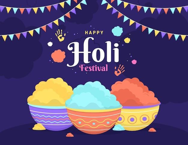 Celebración del festival holi plano con polvo