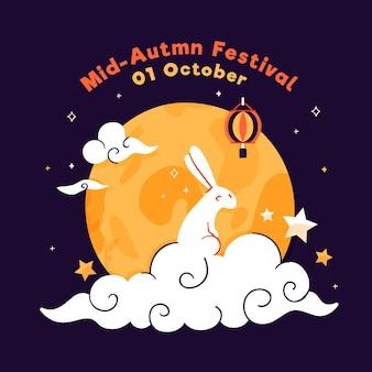 Celebración del festival del medio otoño de diseño plano