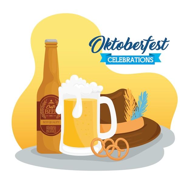Celebración del festival oktoberfest con cerveza artesanal y sombrero tirolés, diseño de ilustraciones vectoriales
