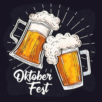 Celebración del festival oktoberfest con jarras de cerveza