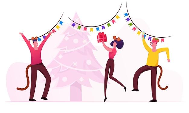 Celebración de la fiesta de año nuevo. ilustración plana de dibujos animados