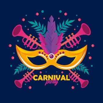Celebración de la fiesta de carnaval de mardi gras con máscara y trompetas