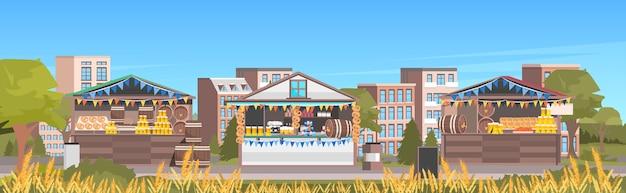 Celebración de la fiesta de la cerveza de octubre al aire libre festival al aire libre paisaje urbano antecedentes
