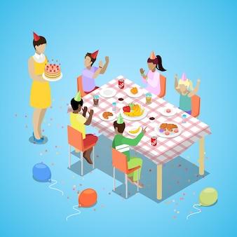 Celebración de fiesta de cumpleaños feliz isométrica con niños y pastel. vector ilustración plana 3d