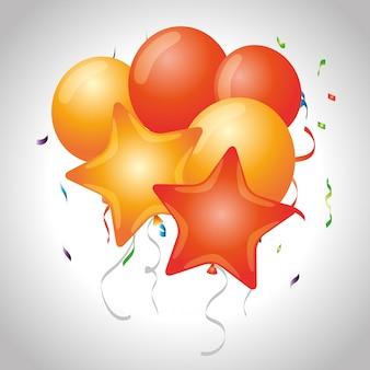 Celebración de fiesta con decoración de estrellas y globos