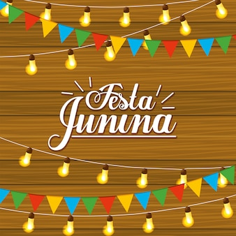 Celebración de la fiesta junina con luces y banner de fiesta.