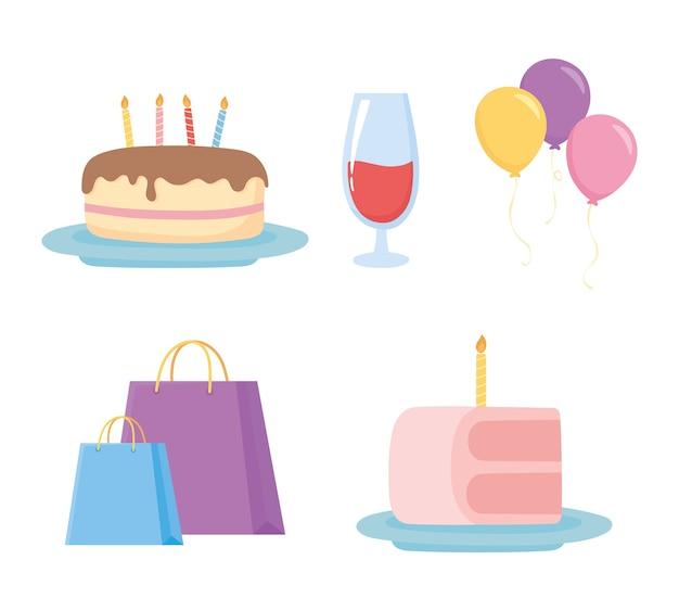 Celebración de fiestas bolsas tortas con velas, globos e iconos de copa de vino
