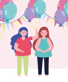 Celebración de fiestas chicas de dibujos animados con globos y banderines