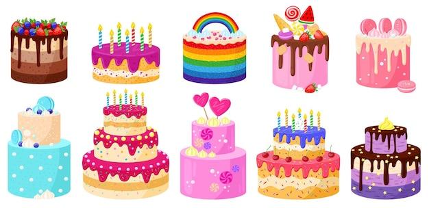 Celebración de fiestas de cumpleaños de dibujos animados deliciosos pasteles. tortas de velas de chocolate y fresa de feliz cumpleaños conjunto de ilustraciones vectoriales. postres decorados de cumpleaños
