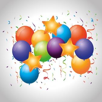 Celebración de fiestas con globos y decoración de confeti.