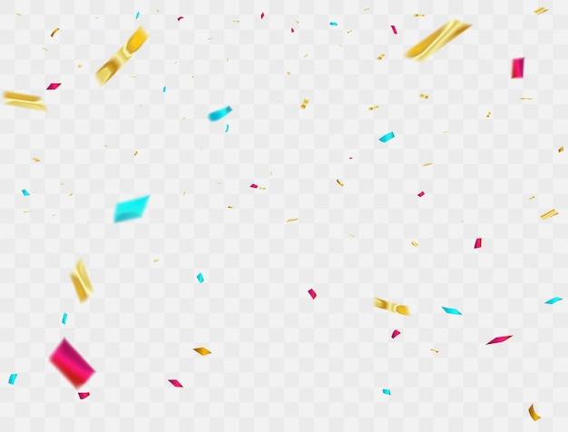 Celebración de fondo confeti cintas de colores. tarjeta de felicitación de lujo rica.
