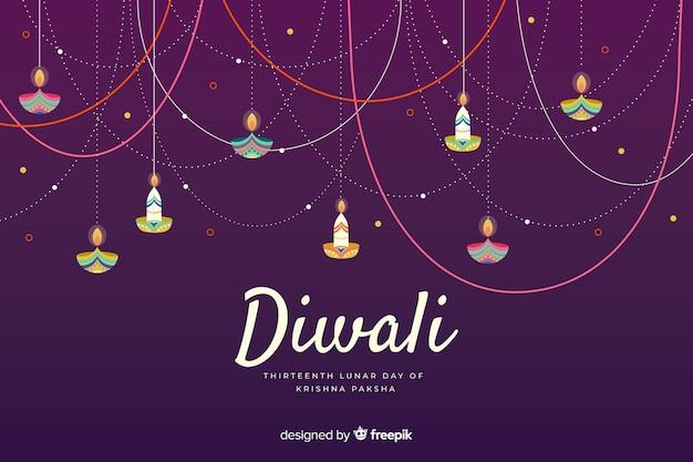 Celebración de fondo diwali dibujado a mano