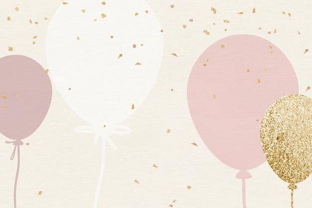 Celebración de fondo de globos de lujo en tono rosa y dorado.