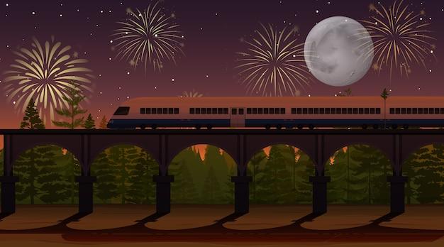 Celebración de fuegos artificiales con escena de tren.