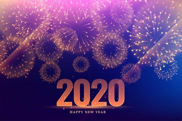 Celebración de fuegos artificiales de feliz año nuevo 2020