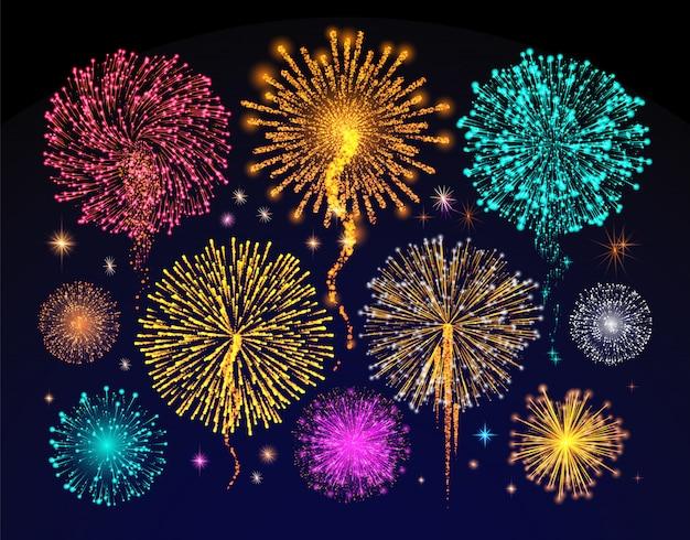 Celebración de fuegos artificiales de vacaciones, luz del cielo nocturno