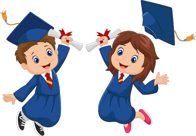 Celebración de graduación de dibujos animados