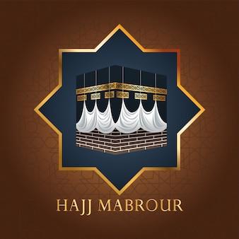 Celebración de hajj mabrour con kaaba sagrada