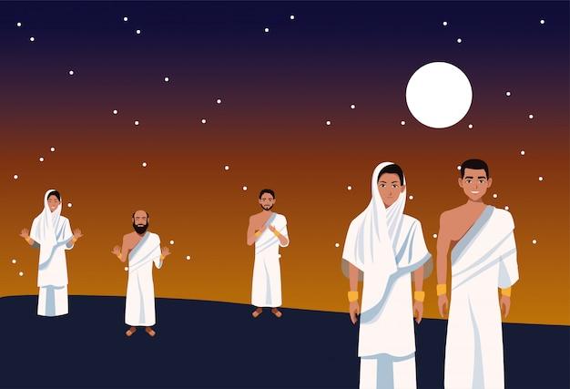 Celebración de hajj mabrour con peregrinos islámicos grupales por la noche